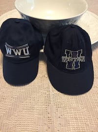 Two black and white WWU hats. Stanwood, 98292