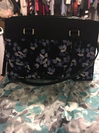 women's black and blue floral leather 2-way bag