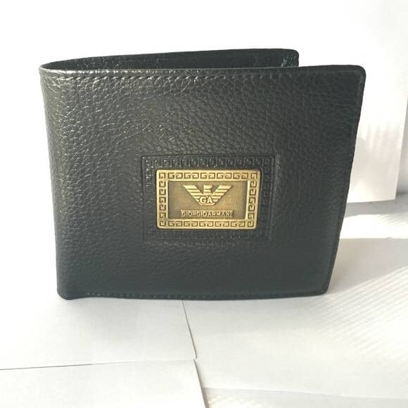 GIORGIO ARMANI BLACK LEATHER WALLET BRAJD NEW