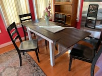 Rectangular brown wooden table with four chairs dining set Decatur, 62521