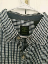 Timberland  white and black plaid button-up shirt  Sterling
