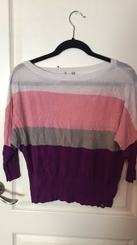 Women's white, pink, gray and purple blouse
