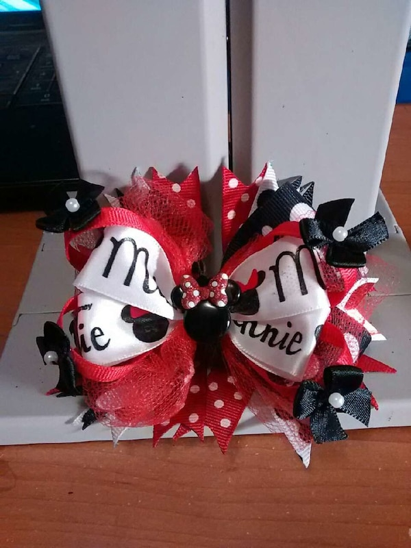 black white and red minnie mouse themed decor