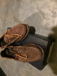 pair of brown ralph lauren boat shoes with box ROCKVILLE