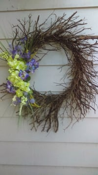purple and yellow flowers accent twig wreath 31 mi
