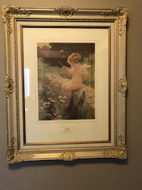 Cherub painting with gold frame