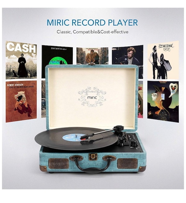 Record Player, Miric Bluetooth Turntable with 2 Built-in Speakers