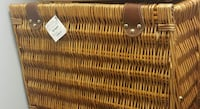 Pier 1 Imports picnic basket (wicker-fabric lined/serving pieces)
