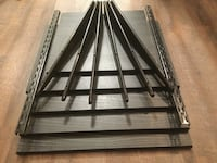 Five finished wood shelves with steel racks & two wall rails.  Vancouver, V5Z 1R5