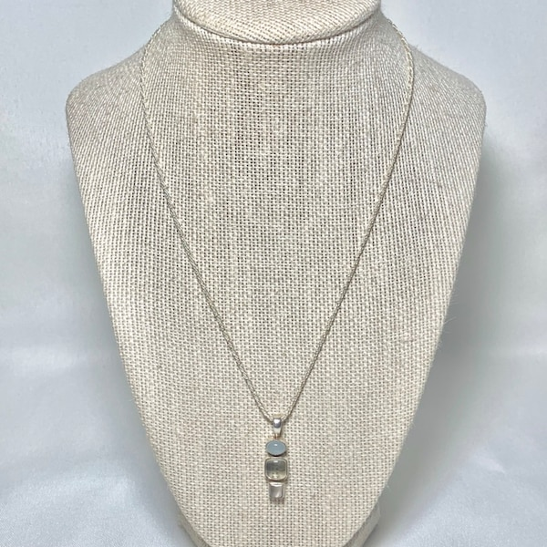 Sterling Silver Moonstone Pendant with Sterling Chain