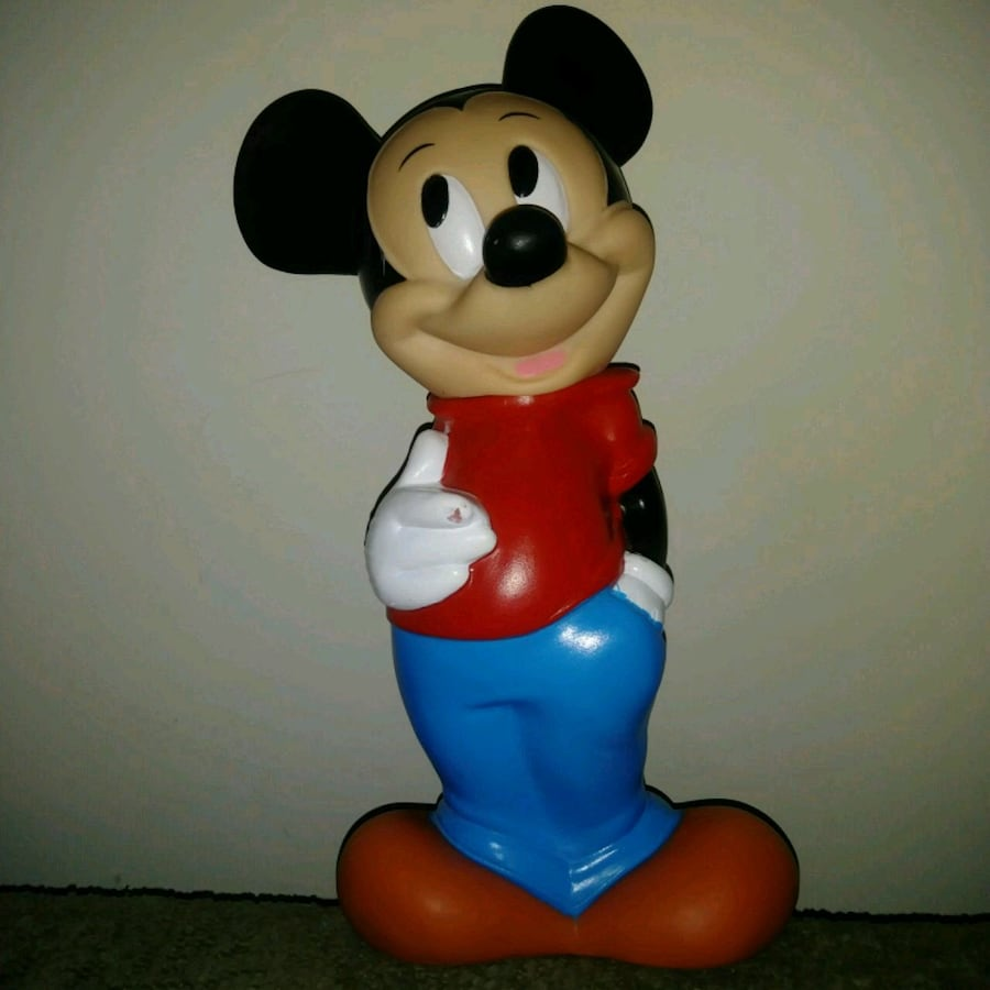Vintage Mickey Mouse Plastic Rubber Coin Bank *MISSING BOTTOM PLUG  *H