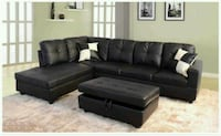 Black Sectional with ottoman has storage  ( new ) Hayward