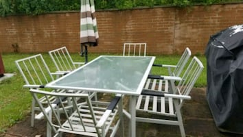 Picnic tables chair umbrella stand