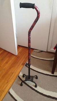 red and black steel cane