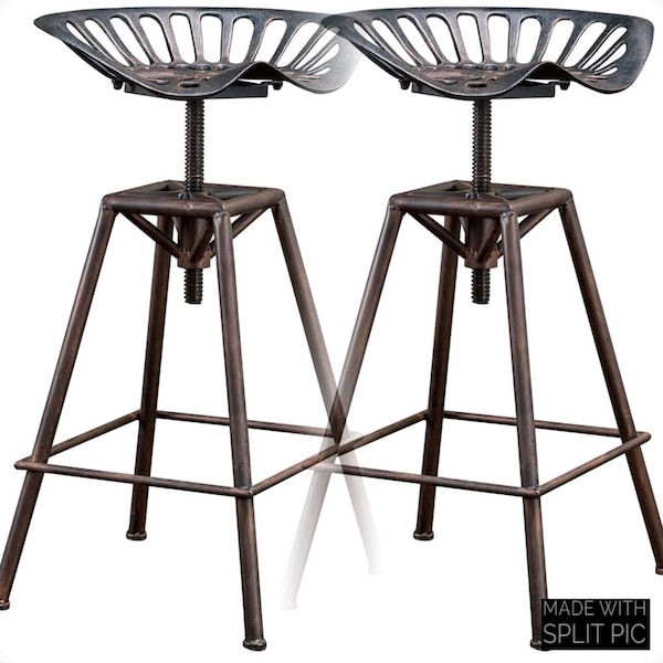 Sensational 2 Bar Stools Industrial Metal Design Tractor Seat Black Gmtry Best Dining Table And Chair Ideas Images Gmtryco