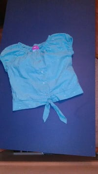 girl's blue buttoin up cre neck shirt 1597 mi