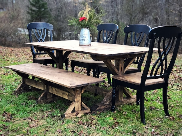 Farmhouse Table and Chairs with Banch