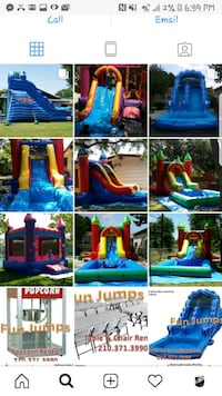 assorted-color inflatable playgrounds collage with text overlay screenshot