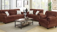 brown fabric sofa set with coffee table