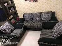 black and white fabric sectional sofa 12060 km