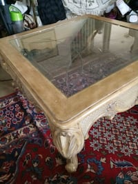 Classic Style Square Blonde Glass insert Coffee Table Mount Airy, 21771