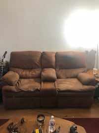 brown suede reclining sofa couch NEED GONE San Marcos, 78666