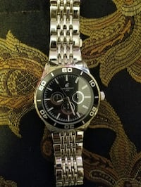 round silver-colored chronograph watch with link bracelet Merced, 95340