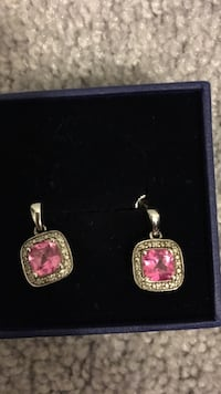 pair of silver and pink gemstone earrings Shelburne, L9V