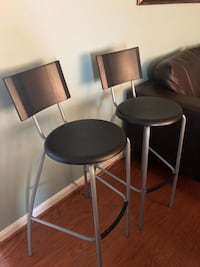 two black and gray metal bar chairs Silver Spring, 20902