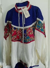 blue and red nylon wind suit print jacket