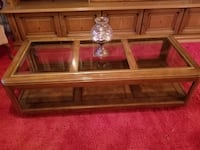 brown wooden framed glass top coffee table WASHINGTON