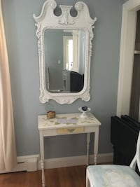 white wooden vanity table with mirror. See my other listings Methuen, 01844