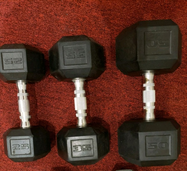 35lbs dumbbells rubber weights hex 1 metal 97176be7-5bae-4bc6-8da9-0670065e2ced