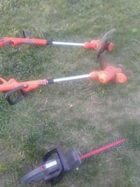 gray and red electric hedge trimmer 46 km