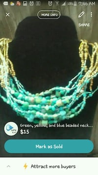 Turquoise and gold necklace  Chilliwack, V2R 4A2