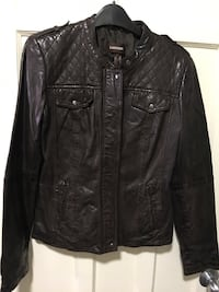 Danier Chocolate Brown Lamb Leather Biker Jacket with Quilted Shoulders  Toronto, M6E 3C9