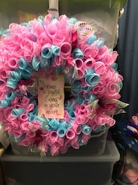 pink and blue floral wreath New York, 10128