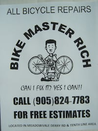 BIKE MASTER RICH IS READY TO DO WHAT HE DOES BEST ALL BIKE REPAIRS ANYTIME!  Mississauga