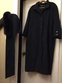 Dark Blue Made in Canada women's size 13/14 wool coat & hood Hamilton, K0L 1E0