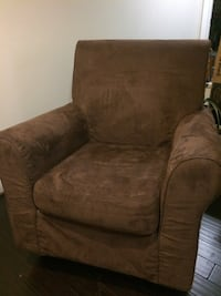 brown suede sofa chair with ottoman DERWOOD