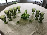 Old green glass goblets, fruit bowl, two birds, candy dish
