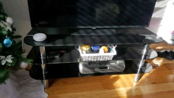 PRICE DROP Tinted Glass TV Stand