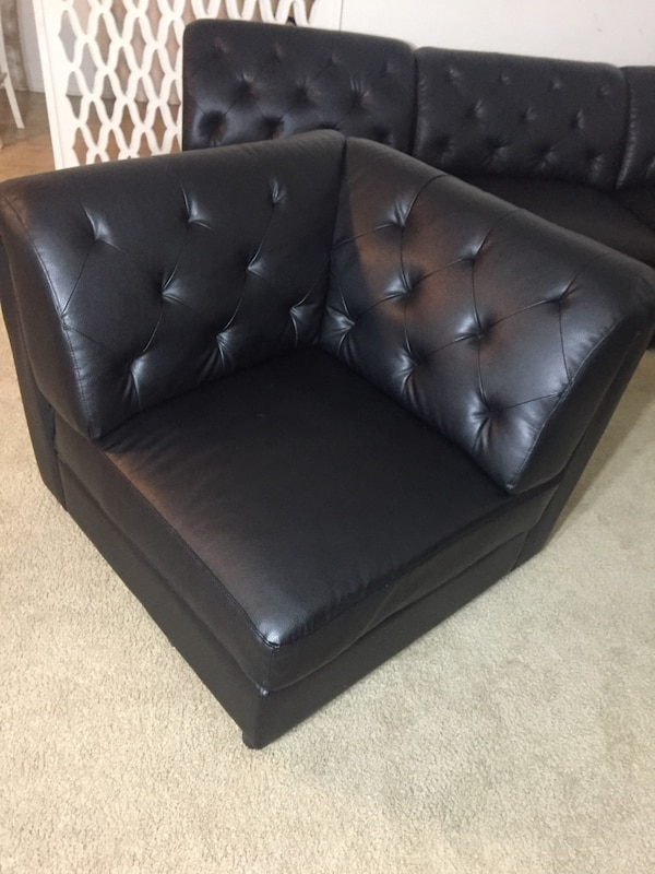 9 piece Sectional black leather tufted sofas