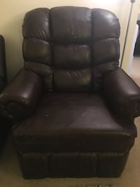 Black leather recliner sofa chair Reston, 20190