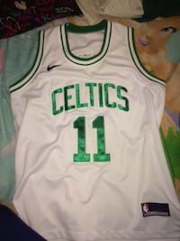 white and green Nike Boston Celtics 11 jersey CLEVELAND