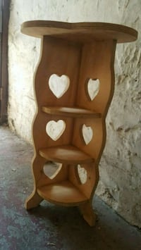 Solid Wood Heart Carved 4 Tier Shelf Storage Table Brooklyn, 11220