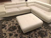 White sectional couch/sofa w/ottoman Bowie, 20720