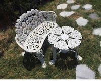 white flower table and chair