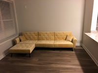Yellow Tufted Velvet Sectional/Futon College Park, 20740