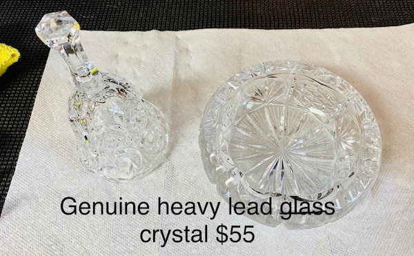 Genuine Vintage Lead Glass Crystal bowl/ashtray and bell